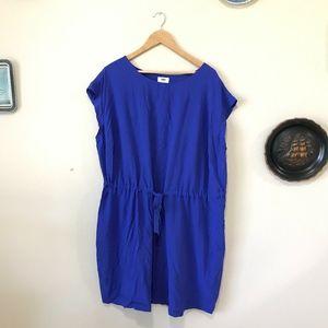 Old Navy Indigo Blue Short Sleeve Tie Dress